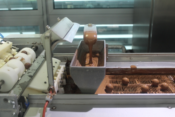Fresh chocolates churning out of the machine!!
